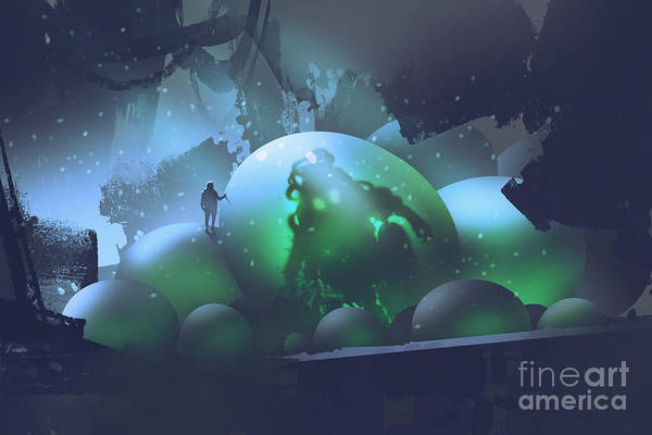 The Man Standing On Glowing Eggs With A Poster