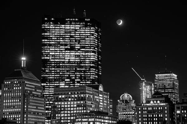 The Moon Rising Over Back Bay And The Boston Common Boston Ma Black And White Poster