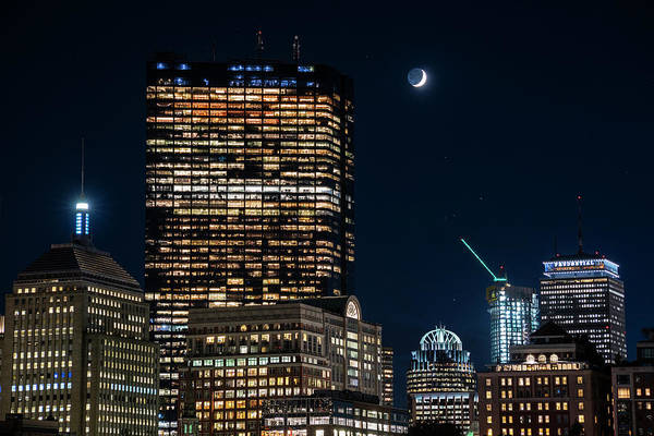 The Moon Rising Over Back Bay And The Boston Common Boston Ma Poster