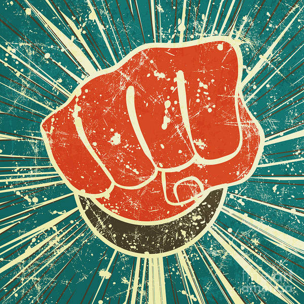 The Punch Fist Of Red Color On A Poster