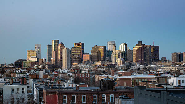 The Skyline Of Boston In Massachusetts, Usa On A Clear Winter Ev Poster