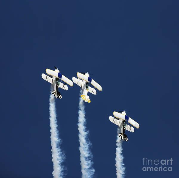 Three Aerobatic Aeroplanes Flying Poster