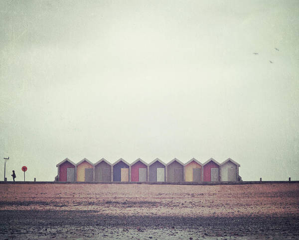 Three Birds And Some Beach Huts Poster