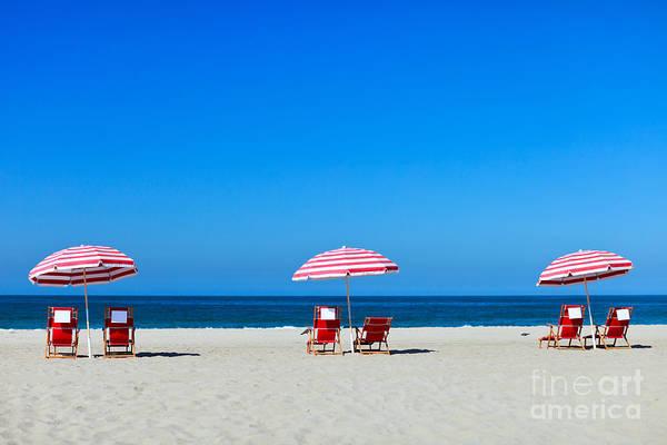 Three Sun Umbrellas At Santa Monica Poster