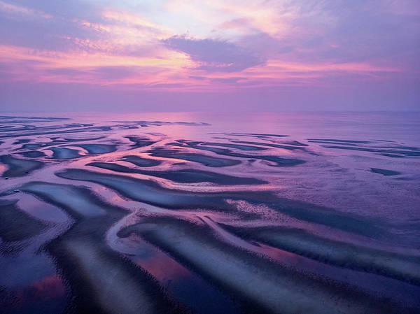 Tidal Flats Sunset Poster