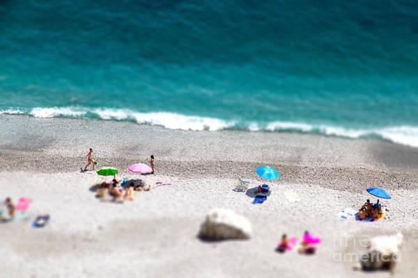 Tilt Shift Of Ocean Beach View With Poster