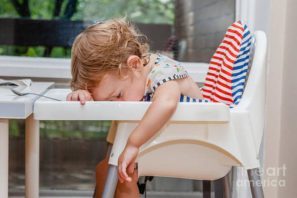 Tired Child Sleeping In Highchair After Poster