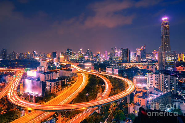 Top View Highway Road Curved Long Poster