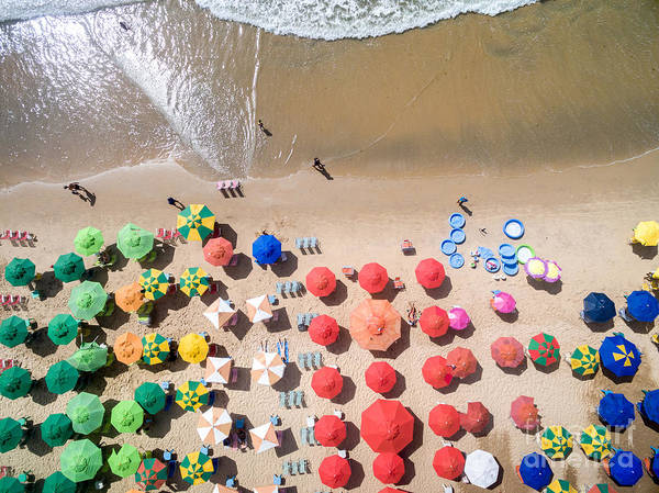 Top View Of Umbrellas In A Beach Poster