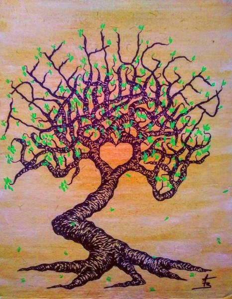 Poster featuring the drawing Tree Hugger Love Tree W/ Foliage by Aaron Bombalicki