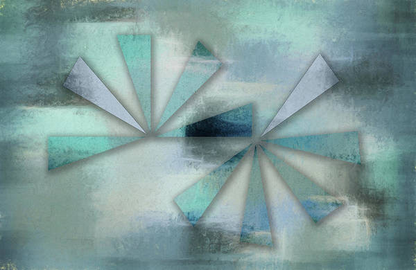 Triangles On Blue Grey Backdrop Poster