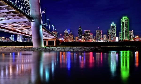 Trinity River Night View Of Dallas Poster