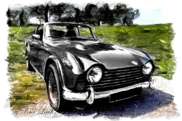 Triumph Tr5 Monochrome With Brushstrokes Poster