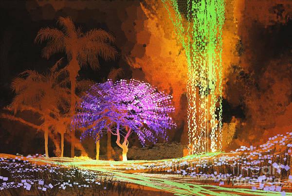 Tropical Landscape Showing Purple Tree Poster