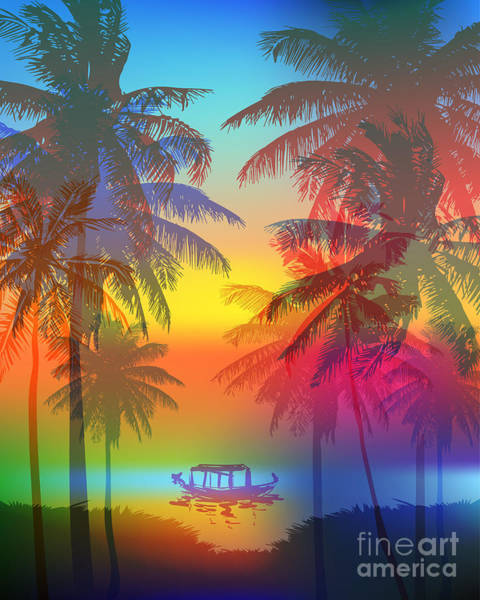 Tropical Sunset On Palm Beach And Poster