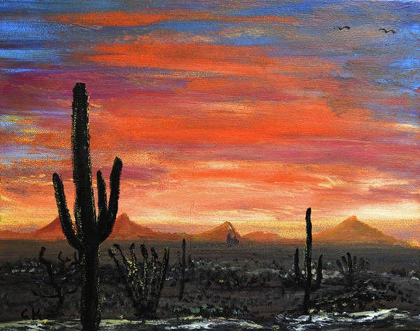 Poster featuring the painting Tucson Mountains At Sunset by Chance Kafka