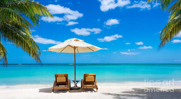 Turquoise Sea, Deckchairs, White Sand Poster
