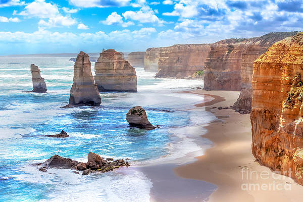 Twelve Apostles And Orange Cliffs Along Poster