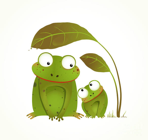 Two Frogs Mother And Baby Childish Poster
