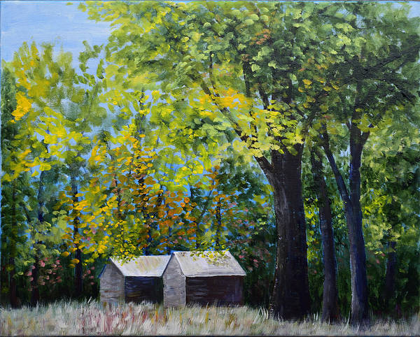 Two Sheds In The Trees Poster