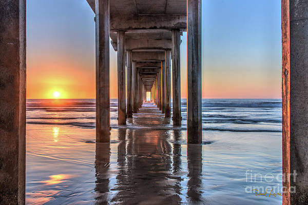 Under Scripps Pier At Sunset  ..autographed.. Poster