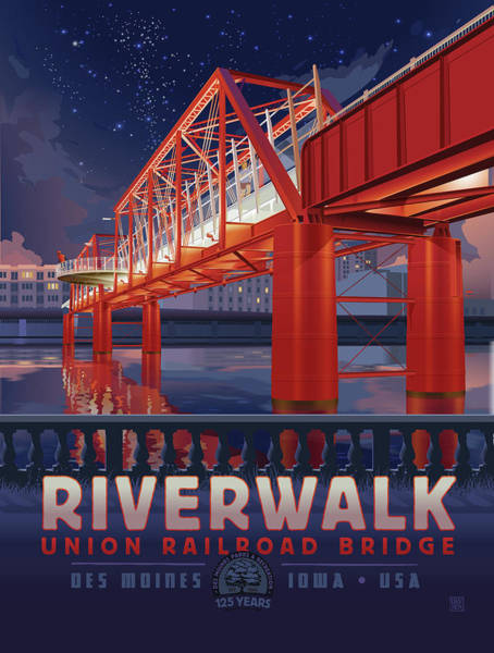 Poster featuring the digital art Union Railroad Bridge - Riverwalk by Clint Hansen