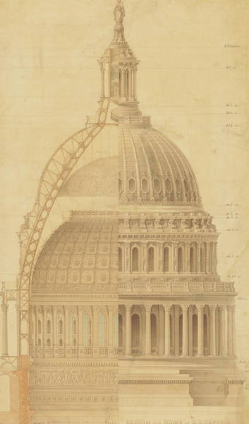United States Capitol, Section Of Dome, 1855 Poster