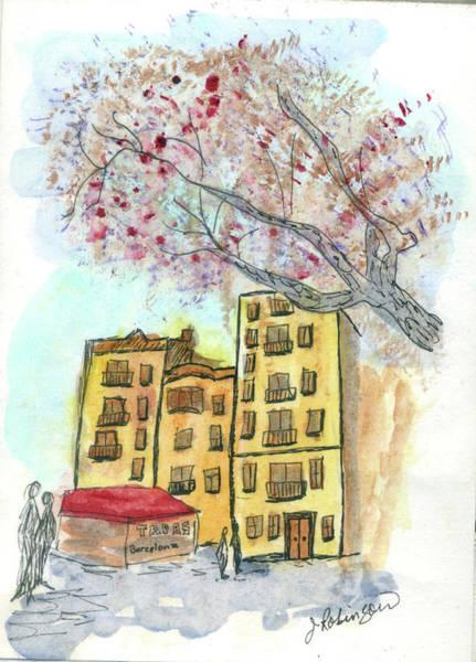 Urban Sketch In Barcelona Poster