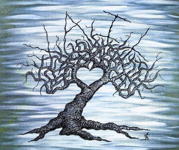 Poster featuring the drawing Vail Love Tree by Aaron Bombalicki