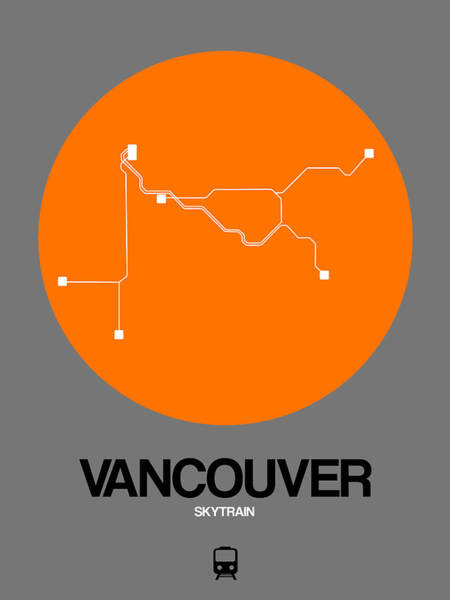 Vancouver Orange Subway Map Poster