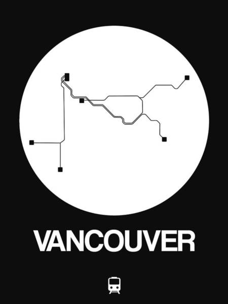 Vancouver White Subway Map Poster