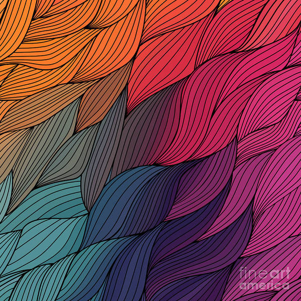 Vector Abstract Hand-drawn Waves Poster