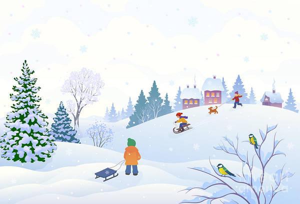 Vector Cartoon Illustration Of A Winter Poster