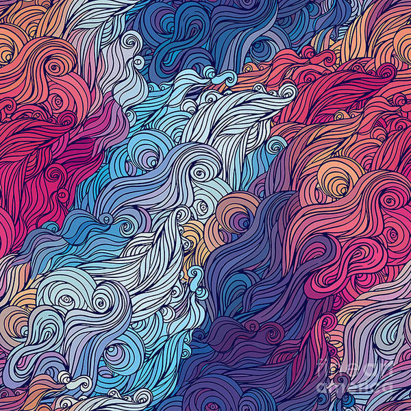 Vector Color Abstract Hand-drawn Hair Poster