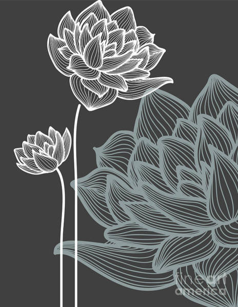 Vector Flowers Over Black Background Poster