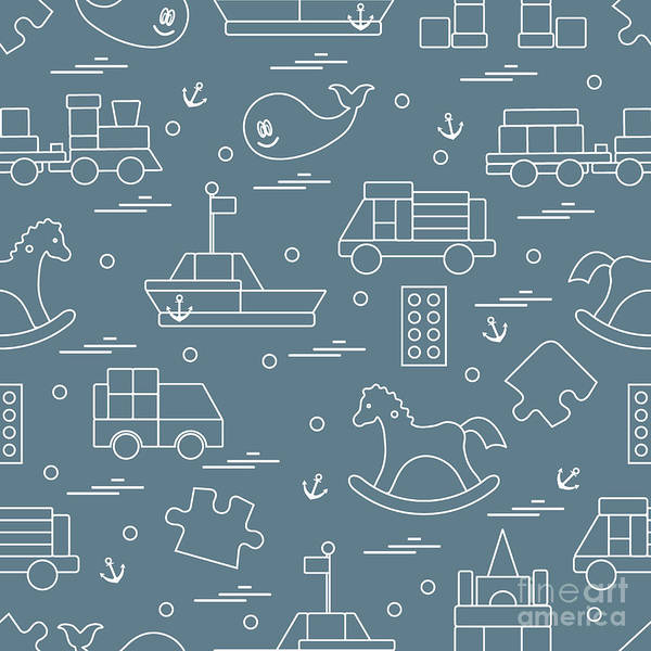 Vector Illustration Kids Toys Objects Poster