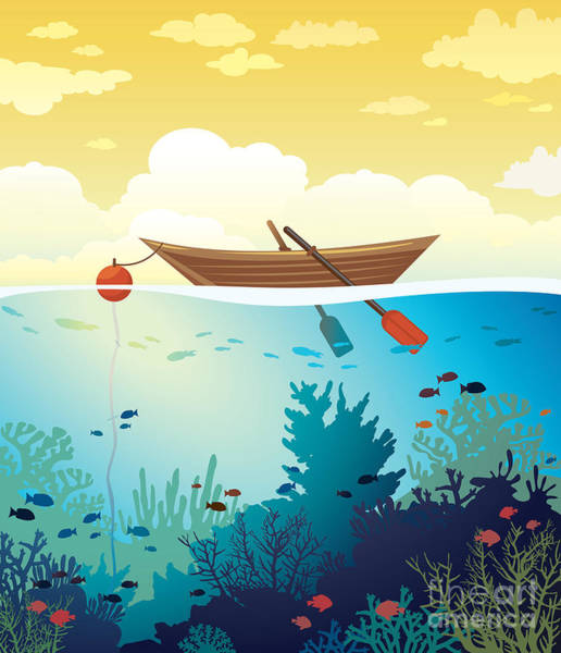 Vector Seascape - Wooden Boat On A Poster