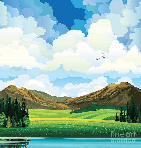 Vector Summer Landscape With Green Poster