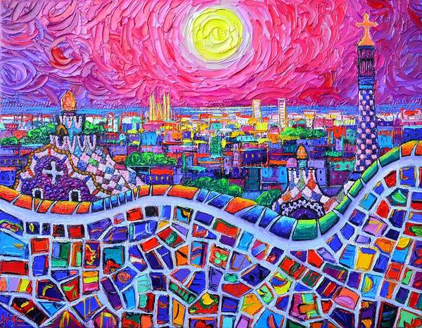 Vibrant Barcelona Night View From Park Guell Modern Impressionism Knife Painting Ana Maria Edulescu Poster