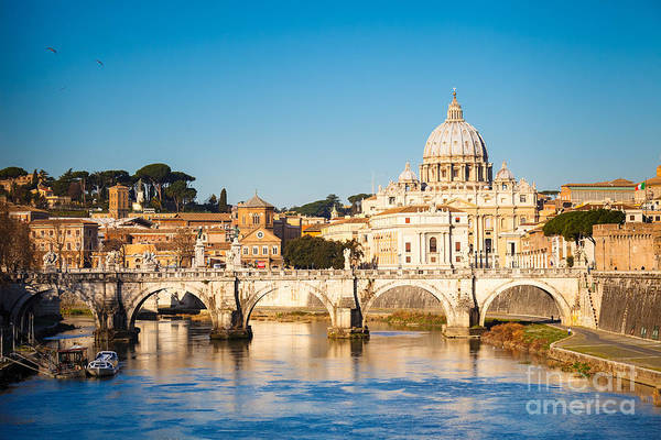 View At Tiber And St. Peters Cathedral Poster