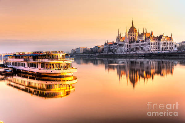 View Of Budapest Parliament At Sunrise Poster