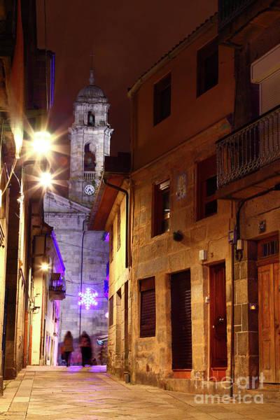 Vigo Cathedral And Christmas Star Galicia Spain Poster