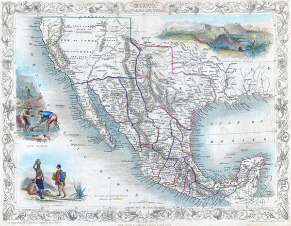 Vingage Map Of Texas, California And Mexico Poster