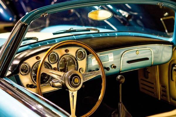 Vintage Blue Car Poster