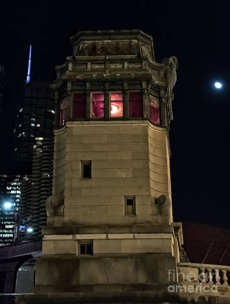Vintage Chicago Bridge Tower At Night Poster