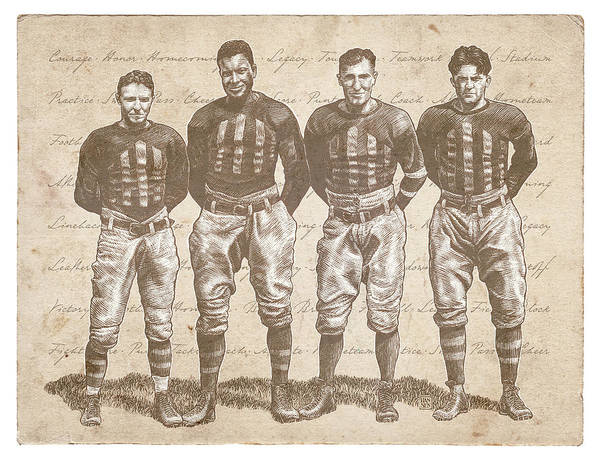 Poster featuring the drawing Vintage Football Heroes by Clint Hansen