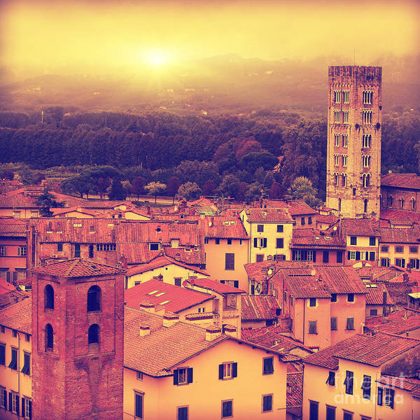 Vintage Image Of Lucca At Sunset, Old Poster