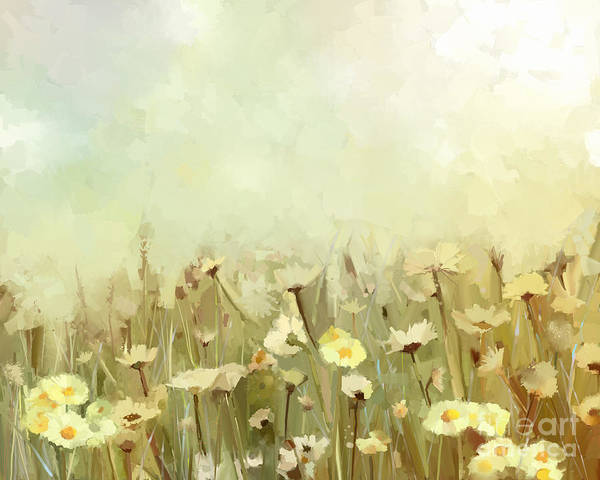 Vintage Oil Painting Daisy-chamomile Poster