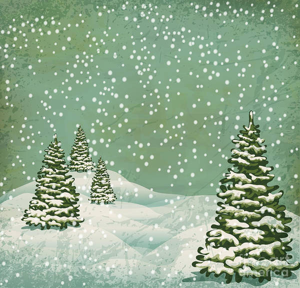 Vintage Postcard With Christmas Trees Poster