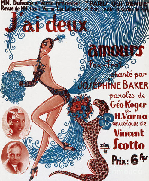 Vintage Show Poster Jai Deux Amours, Sung By Josephine Baker Poster